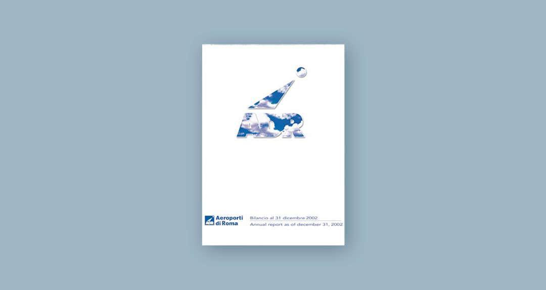 Ideazione grafica della copertina del Bilancio per Aeroporti di Roma