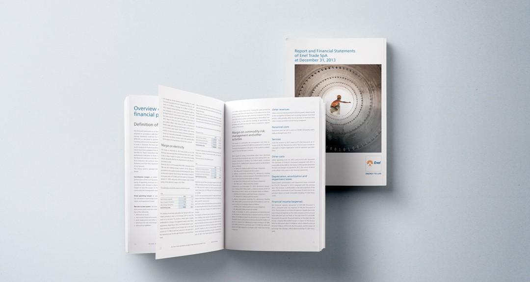 Impaginazione del bilancio aziendale di Enel Trade
