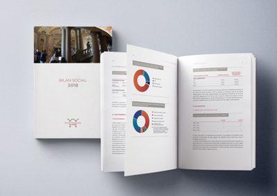 Progetto grafico e impaginazione del bilancio sociale di Ecole Française