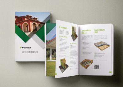 Progetto grafico di quattro brochure per la società di bioedilizia Forest