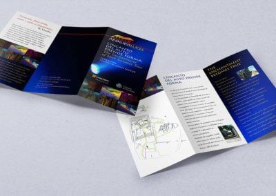 Ideazione grafica del depliant per lo spettacolo di luci Anxuris Luces presso il tempio di Giove Anxur a Terracina