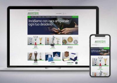 Realizzazione tecnica e studio del design del sito di e-commerce Agostini, coppe e targhe