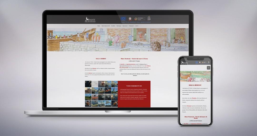 """Web design e realizzazione tecnica del sito per la mostra presso i mercati di Traiano a Roma """"Mare Nostrum"""""""