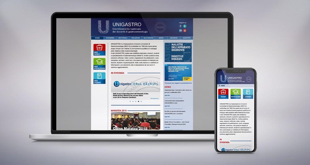 Web design, architettura e studio della user experience per il sito Unigastro, associazione di medici gastroenterologi
